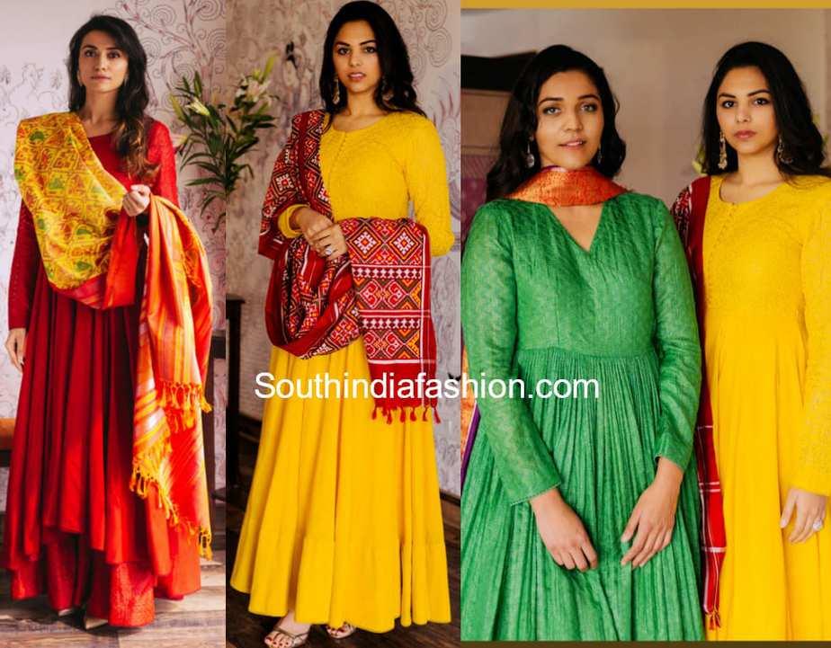 gaurang plain handloom anarkali suit designs with ikat chunnis