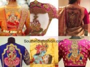 gods and goddesses blouse designs for pattu sarees