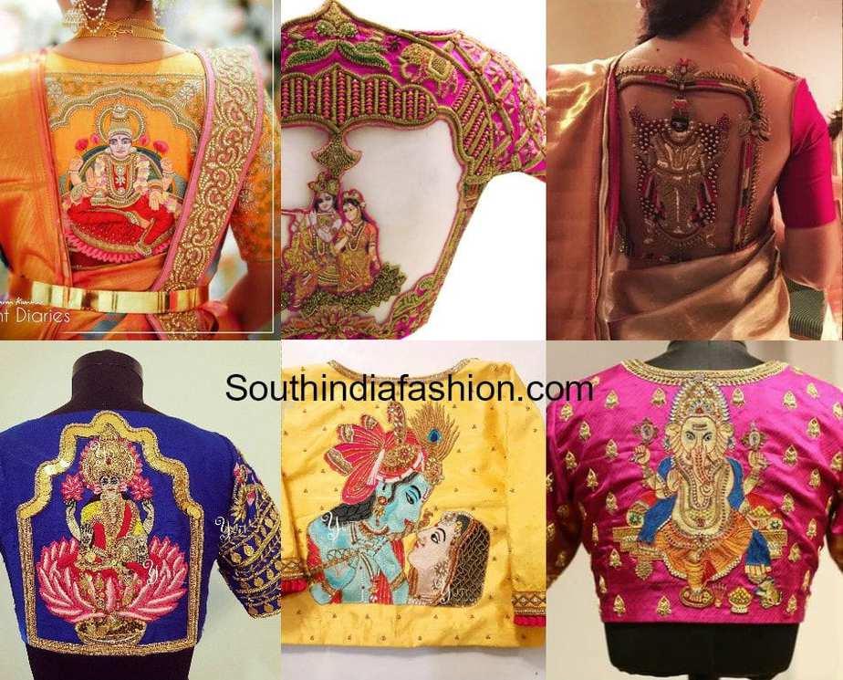 gods and goddesses blouse designs for pattu sarees