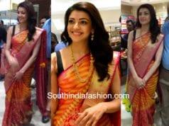 kajal aggarwal in pattu saree sleeveless blouse at store launch nizamabad
