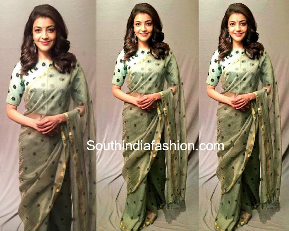 41f95b5b92 Kajal Aggarwal in a green floral saree and high neck blouse