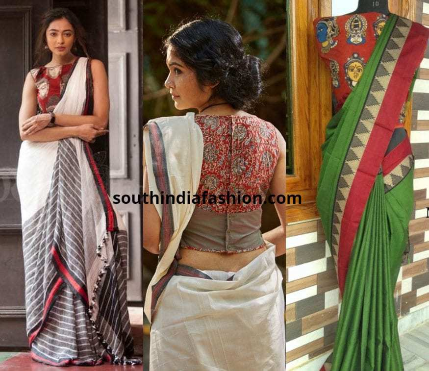 Linen and Cotton Sarees With Kalamkari Blouses