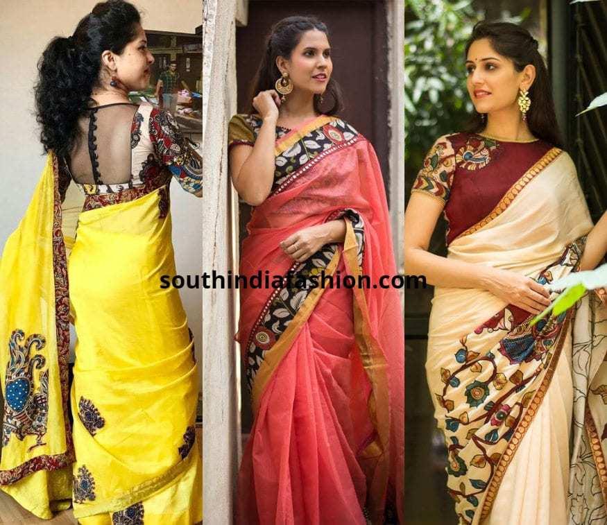Kerala Saree With Kalamkari Blouses