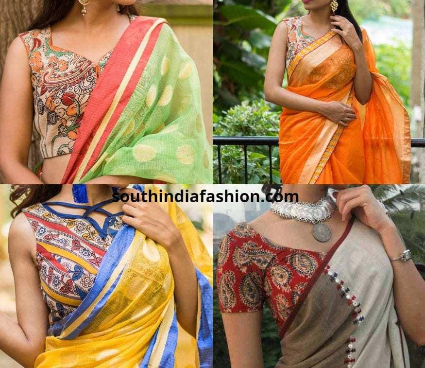 Linen and Cotton Sarees With Kalamkari Blouses