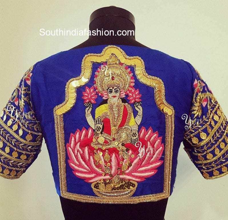 Goddess Lakshmi design on pattu saree blouse
