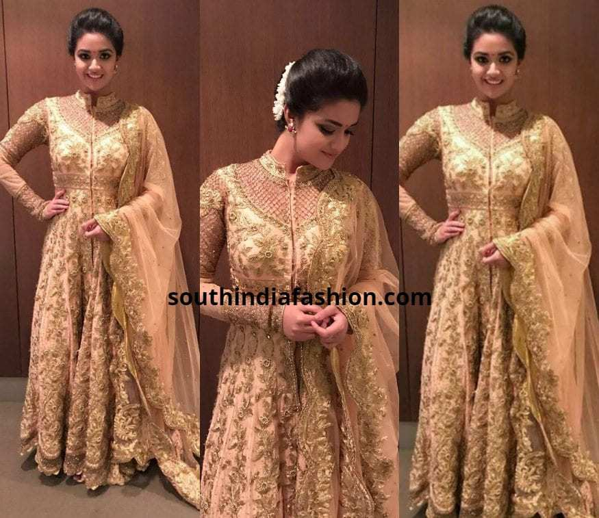 Keerthy Suresh gold floor length Anarkali