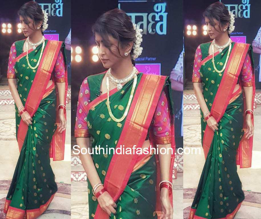 lakshmi manchu green pattu saree maharani tv show