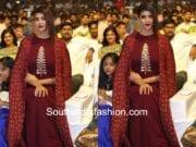 lakshmi manchu maroon cape gown at gayatri audio launch