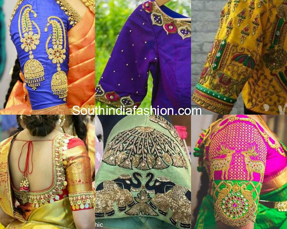 Stylish embroidery designs for pattu blouses south india Fashion embroidery designs