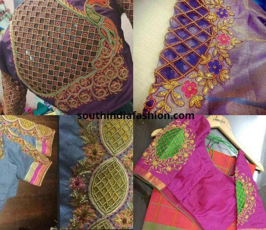 mesh style cutwork blouses for pattu sarees