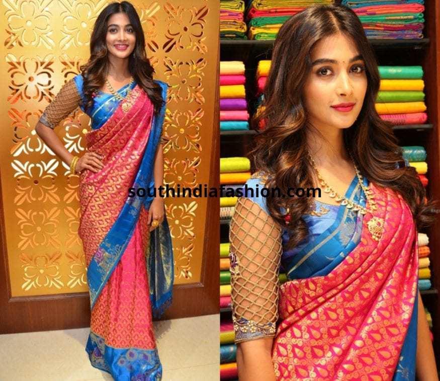 Pooja Hege in mesh style cutwork blouses