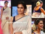 nayanthara in white saree at vikatan awards 2018