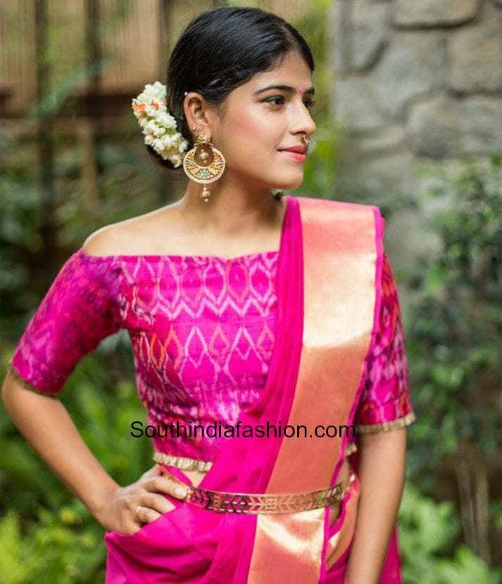 off shoulder blouse with silk sarees