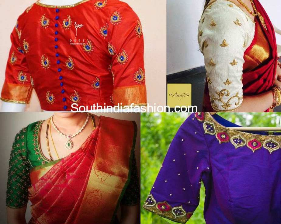 Stylish embroidery designs for pattu blouses south india