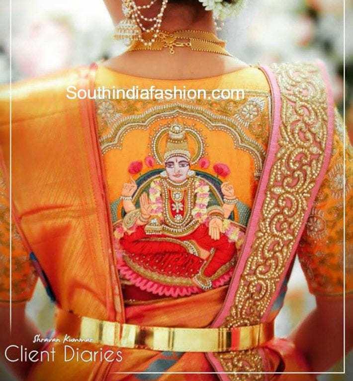 kanjeevaram blouse with goddess embroidery
