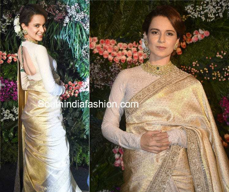 kanchi pattu saree with full sleeves blouse