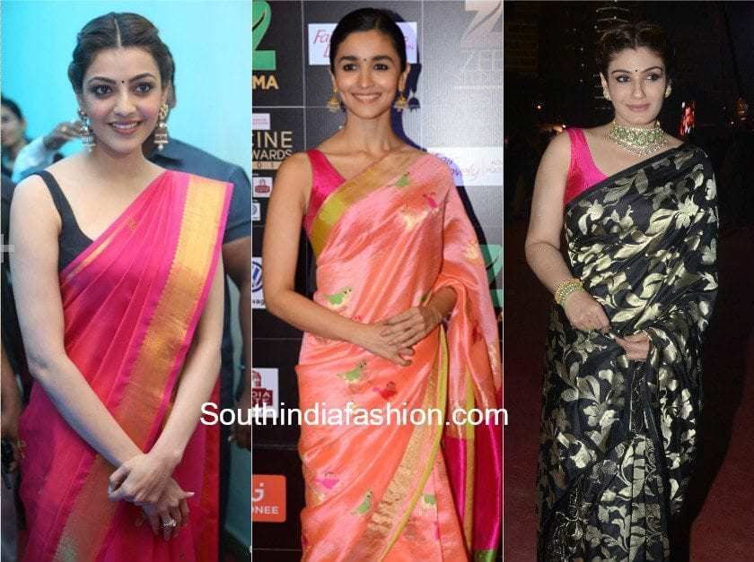 celebrities in silk sarees with sleeveless blouse