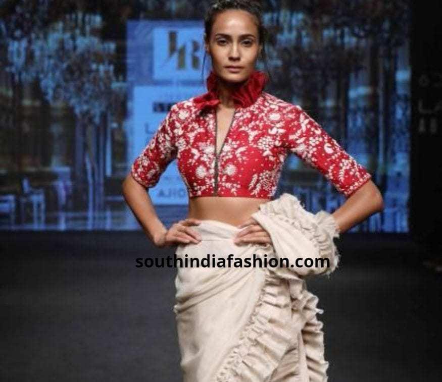 contrast designer blouse