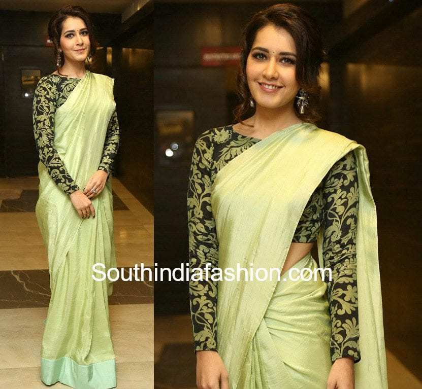 raashi khanna green saree full sleeves blouse touch chesi chudu pre release function