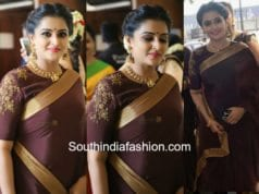 remya nambeesan in brown saree at actress Bhavana wedding