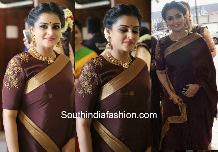 remya nambeesan in brown saree at actress Bhavana wedding