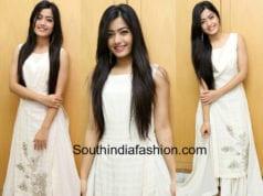 Rashmika Mandanna white dress chalo promotions