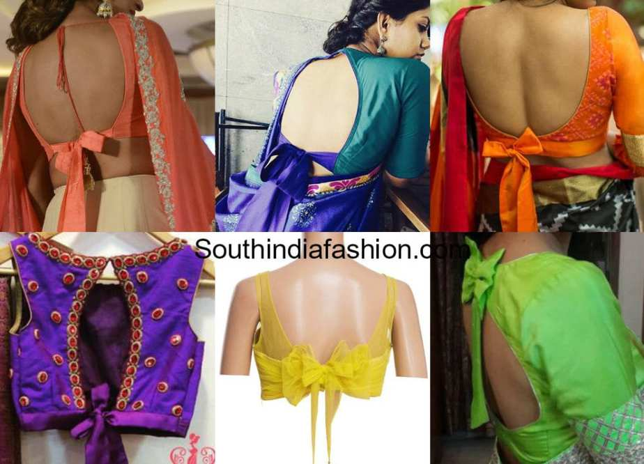 saree blouse designs with knot or bow on back