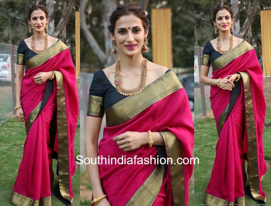 732470d1d1 Shilpa Reddy in Pink Pattu Saree and Gold Jewellery at Gudi ...