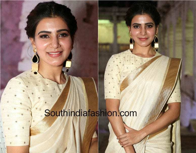 silk saree with closed neck blouse