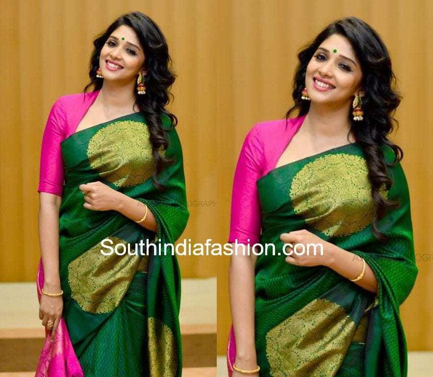 pattu saree with contrast blouse