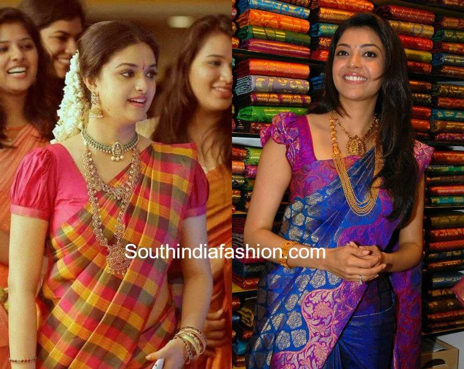 pattu blouse with net sleeves