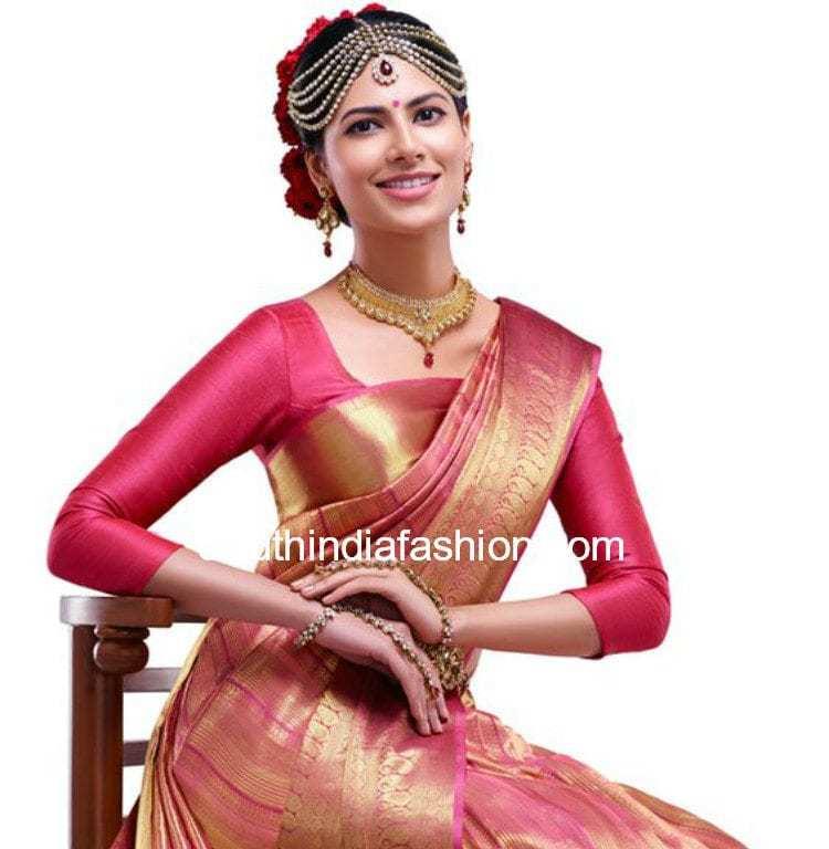pattu saree with three fourth sleeves blouse