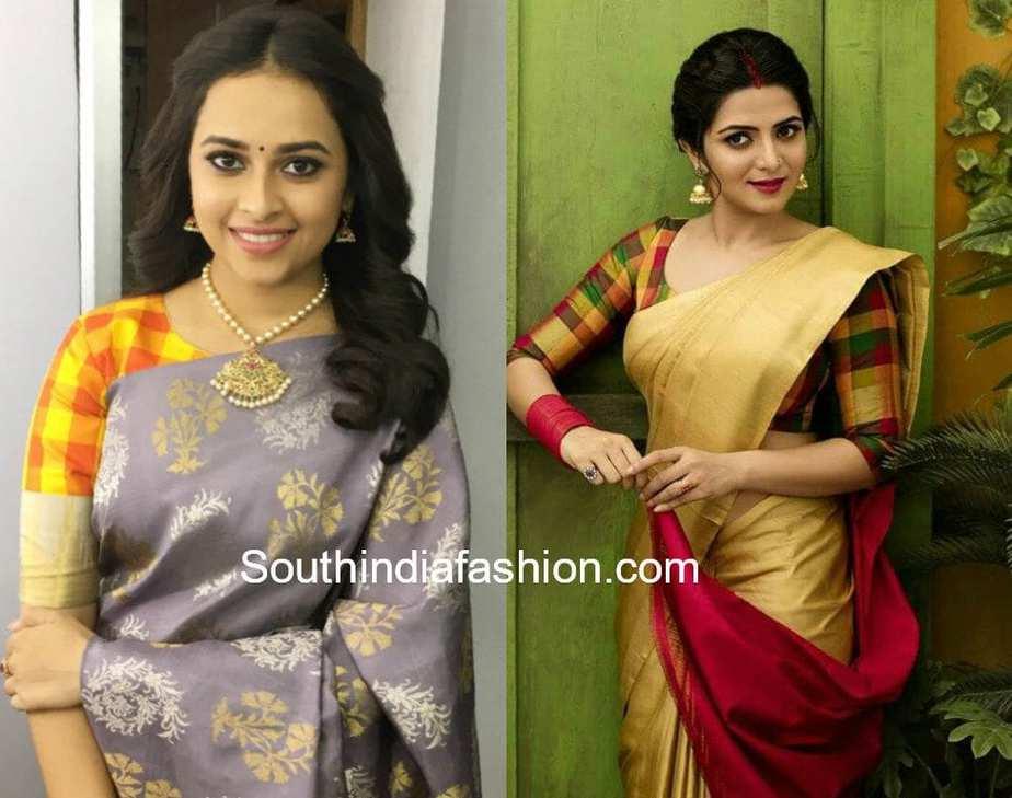 checks blouse design with silk sarees