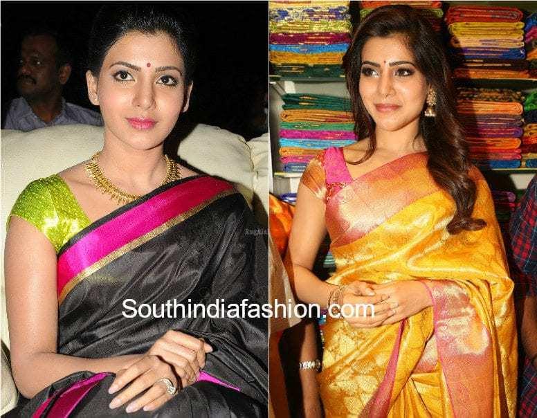 silk saree with cap sleeves blouse