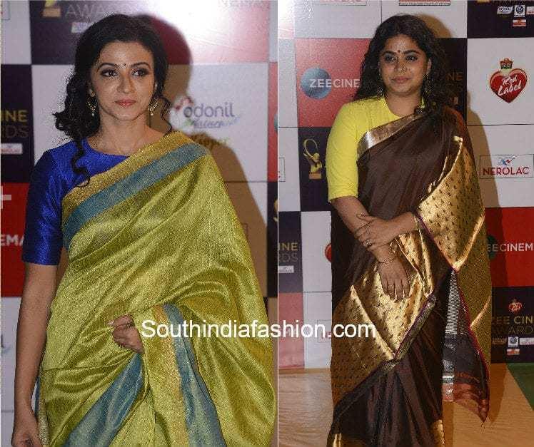 pattu saree with plain blouse
