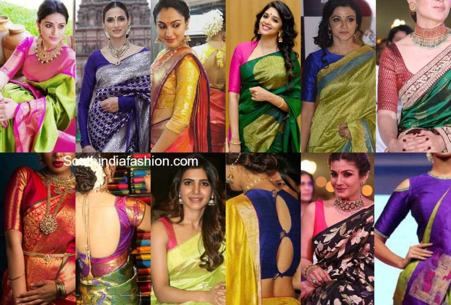 86a8796a53ece6 30 Simple Silk Saree Blouse Designs or Pattu Saree Blouse Designs