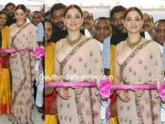 tamannaah bhatia peach saree malabar gold and diamonds launch