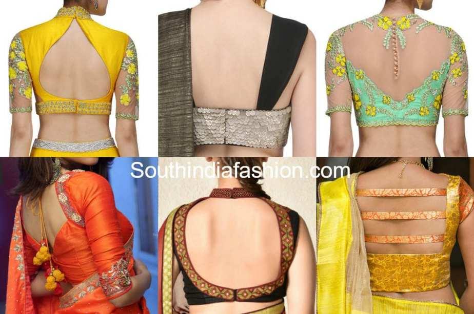 back neck saree blouse designs