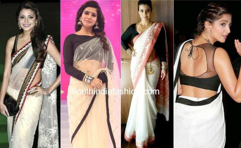 actress white saree with black blouse
