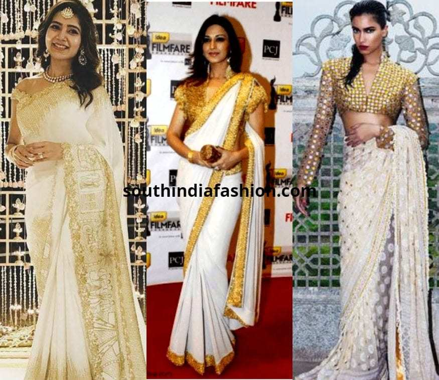 white saree with gold blouse