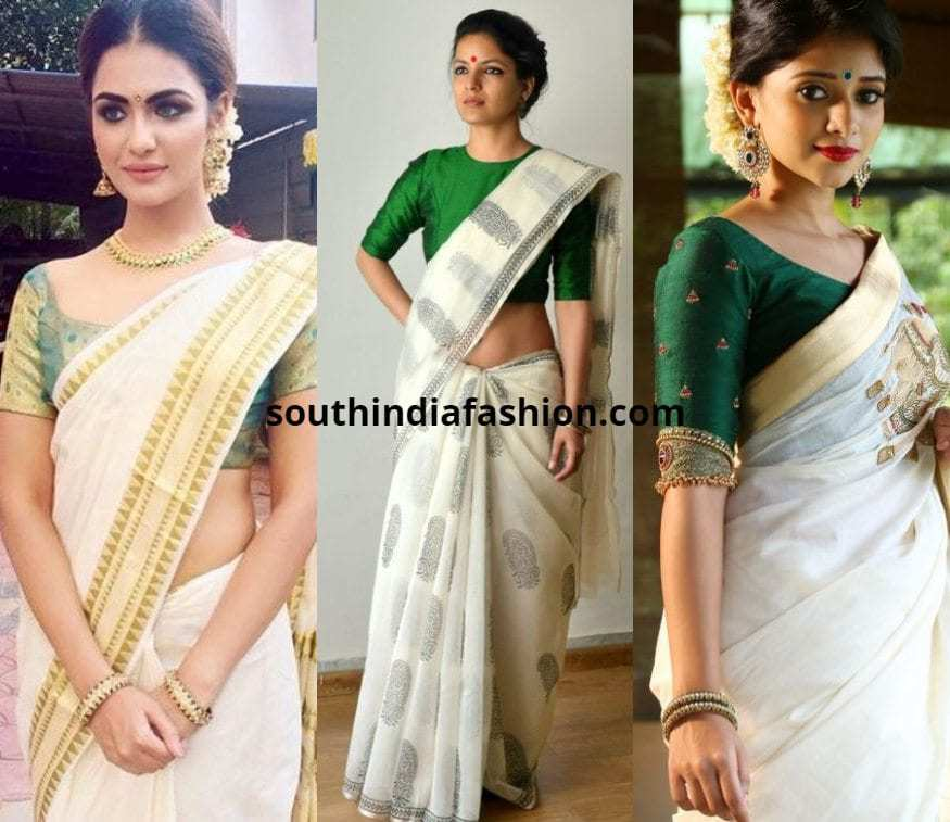 white saree with green blouse