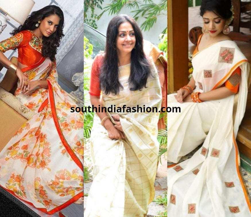 white saree with orange blouse