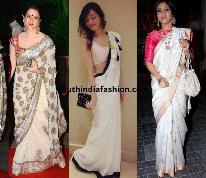 white saree with pink blouse