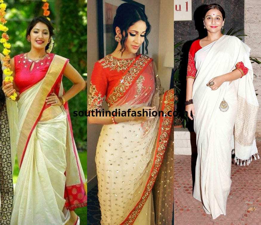 white saree with red blouse