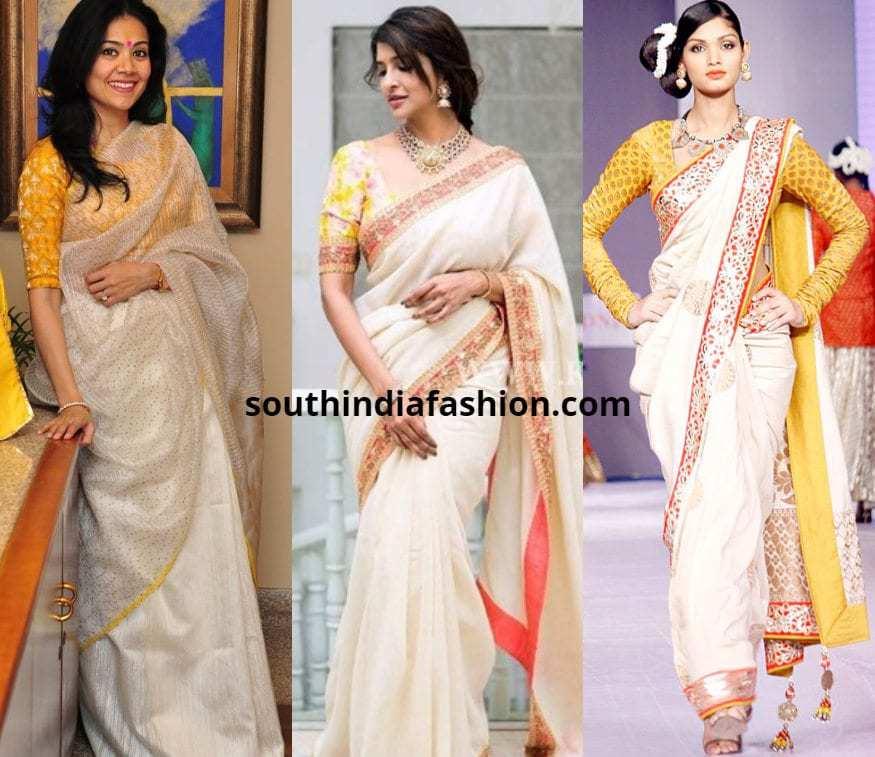 White Saree With Yellow Blouse