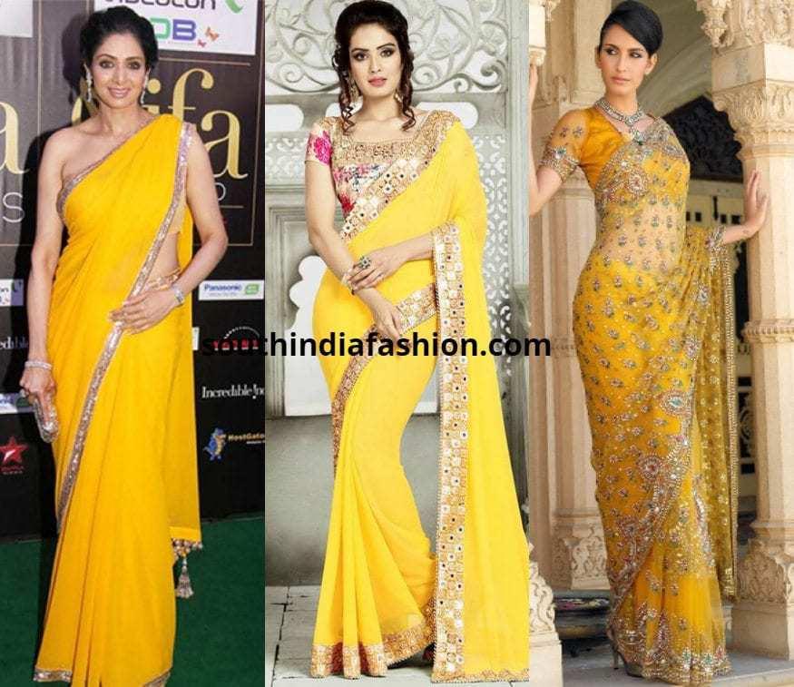 Yellow Fancy sarees