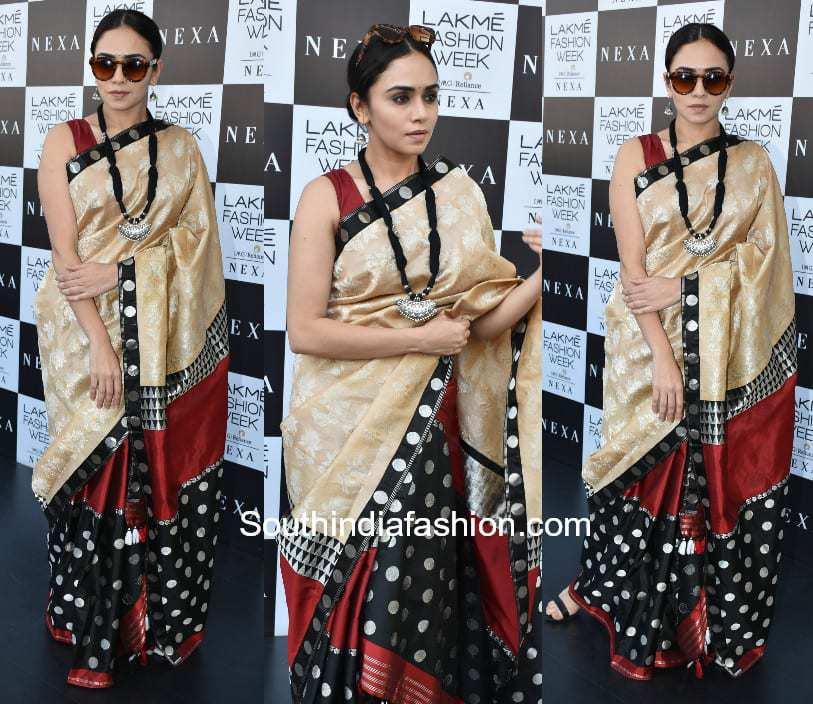 Amruta Khanvilkar in a saree at Lakme Fashion Week 2018 1