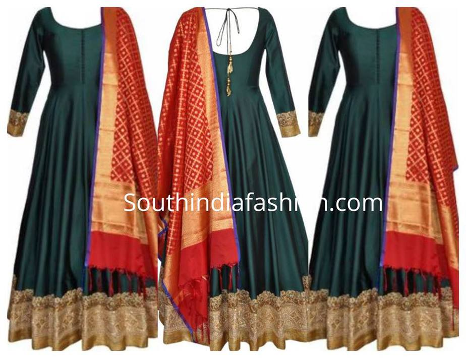 Bottle green anarkali and red duppata
