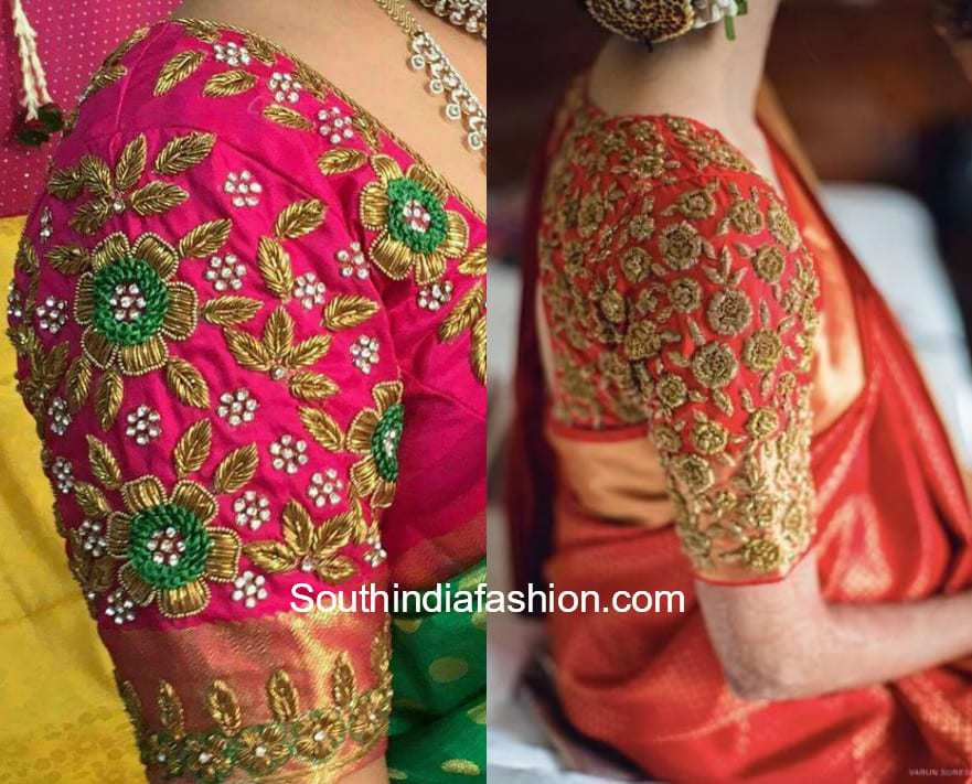 Elbow Sleeves Embroidery Blouse Designs
