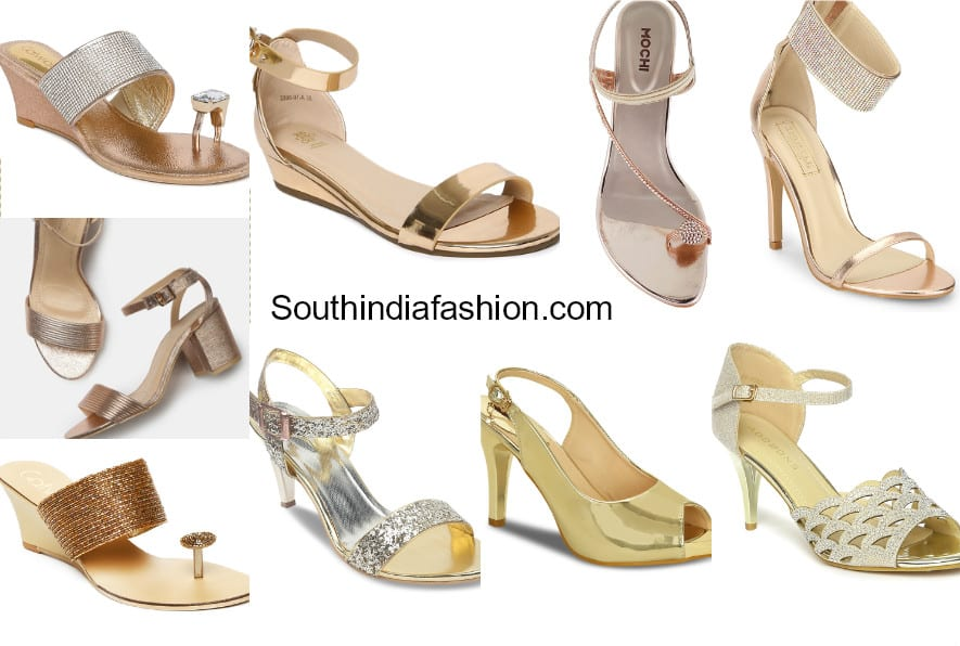 2b9336dc52 15 Pretty Golden Heels and Sandals For Indian Ethnic Wear - Shop Them Online!  – South India Fashion